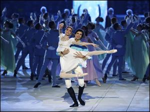 Dancers perform 'War and Peace' during the opening ceremony of the 2014 Winter Olympics.