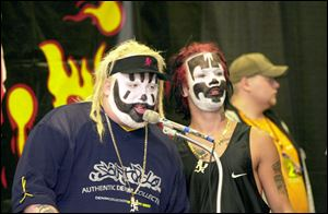 Members of Insane Clown Posse, Violent J., left, and Shaggy 2 Dope.