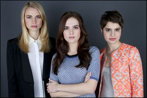 "Co-stars of the film ""Vampire Academy,"" from left, Lucy Fry, Zoey Deutch, and Sami Gayle."