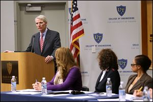 U.S. Sen. Rob Portman (R., Ohio) opens a panel discussion at the University of Toledo  on ways to end human trafficking and to assist its victims.