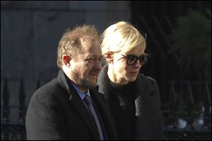 Actress Cate Blanchett and her husband Andrew Upton arrive at the the Church of St. Ignatius Loyola for the private funeral of actor Philip Seymour Hoffman.