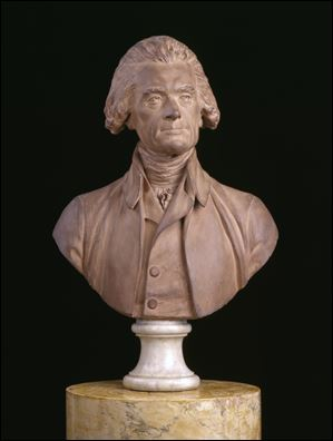 This undated file photo provided by the Thomas Jefferson Foundation at Monticello shows the 1789 bust of Thomas Jefferson, by Jean Antoine Houdon.