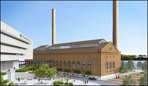 ProMedica has announced plans to relocate its headquarters and several area business offices to downtown Toledo. The health system's new home will be the former Toledo Edison Steam Plant and the KeyBank office building downtown on Summit Street, as depicted in this artist's rendering.