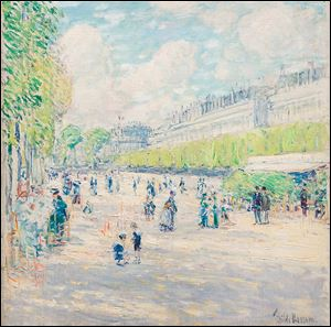 Childe Hassam, an American impressionist, depicted the Tuileries Garden in the late 1890s. The garden became Paris' first public park in 1667. The orginal royal palace was torn down in 1883.