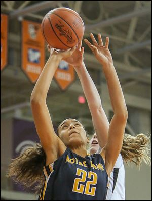Notre Dame's Jayda Worthy, who had seven points, scores against Northview. The Eagles are 15-3.