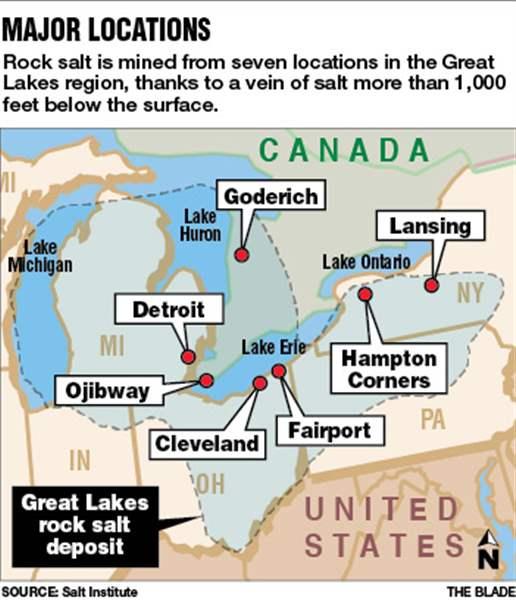 Winter Puts Great Lakes Salt In Demand The Blade - Lake erie salt mines
