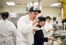 First-year-student-Andy-Nagy-Toledo-samples-the-desserts-during-baking-class-culinary-owens