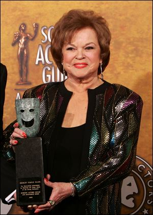 Shirley Temple Black poses with the Screen Actors Guild Awards 42st annual life achievement award at the 12th Annual Screen Actors Guild Awards, in Los Angeles in January, 2006.