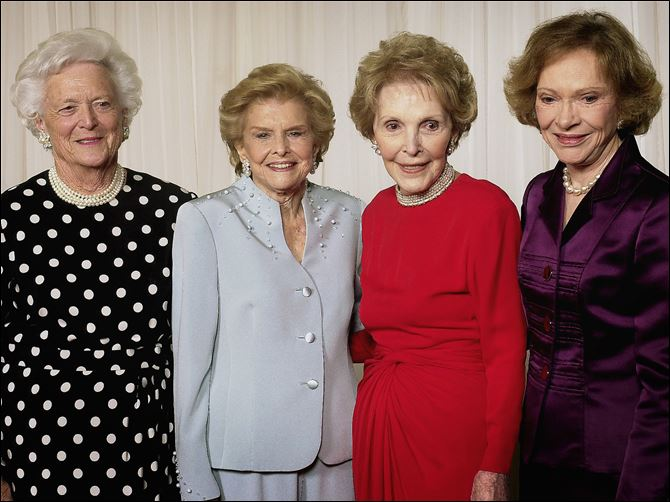 FIRST LADIES Former first ladies from left, Barbara Bush, the late Betty Ford, Nancy Reagan, and Rosalynn Carter gather for a photo at a fund-raising event saluting Betty Ford and the Betty Ford Center in 2003.