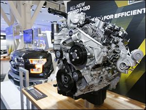 The  2.7-liter turbocharged V-6 engine will come standard with fuel-saving start-stop technology in Ford's next-generation F-150 pickup.