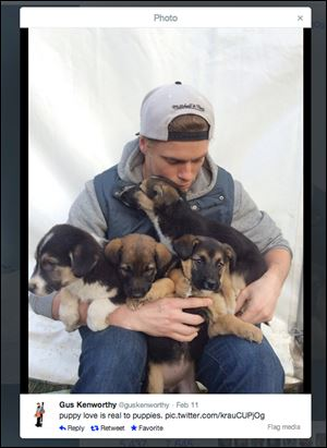 American skier Gus Ken-worthy said on his Twitter account: 'puppy love is real to puppies' and is bringing home a family of stray dogs from the Win-ter Olympics. The