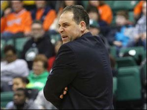 Eastern Michigan's head coach Tory Verdi reacts to a referee's call.