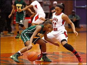 Start's Marquasia Turner is guarded by Rogers' Brelynn Hampton-Bey.