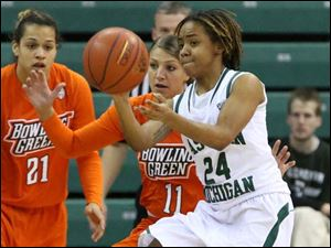 Eastern Michigan's Cha Sweeney (24) passes the ball under pressure form Bowling Green's Jillian Halfhill (11).