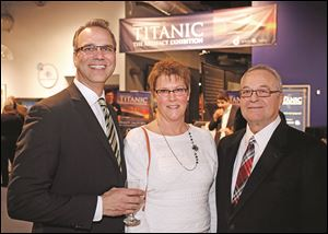 Left to right Tony Vetter, Gretchen Mikolajczak, and Richard Nachazel during the Titanic Exhibit preview reception.