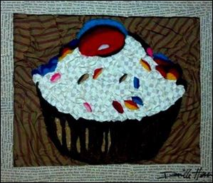 'Cupcake' by Dani Herrera, who uses recycled and unconventional materials to create her popular works of art.  She will speak at 6 p.m. Feb. 28 in the Family Center at the Toledo Museum of Art.