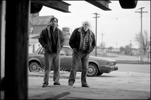 Will Forte as David Grant, left, and Bruce Dern as Woody Grant in a scene from the film 'Nebraska.'