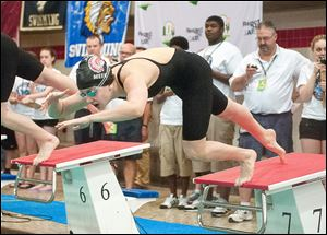 Cheyenne Meek of Port Clinton starts in 100-yard freestyle at the state meet. She was eighth in the race but took third in the 50 free.