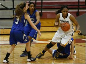 Notre Dame's Kaayla McIntyre steals the ball from Springfield defenders.