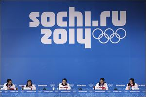 A delegation from the 2018 Pyeongchang Olympic Winter Games attend a press conference Saturday in Sochi, Russia.