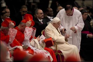 Benedict XVI has joined Pope Francis in a ceremony creating the cardinals who will elect their successor in an unprecedented blending of papacies past, present and future.