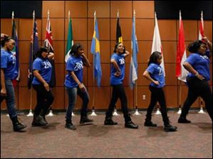 The University of Toledo Phi Beta Sigma Inc. performs a step routine.