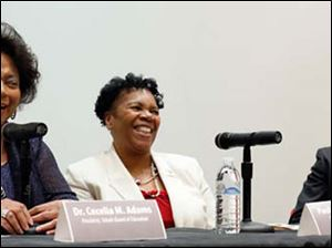 From left, Dr. Cecelia Adams, president of Toledo Public Schools' Board of Education, Paula Hicks-Hudson, president of Toledo City Council, and Rev. Robert A. Culp, pastor of the First Church of God, participate in a panel discussion.