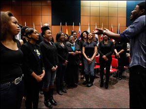 The University of Toledo Gospel choir performs during an event celebrating  the 50th Anniversary of the Passage of the Civil Rights Act.