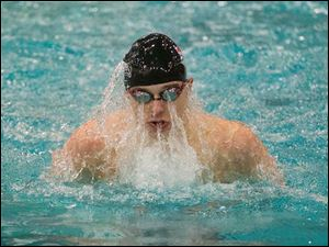 Jack Barone swims the anchor lap of the 100-yard Breaststroke. Barone placed second and had a time of 56.11 seconds.