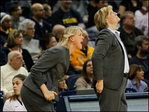 Toledo assistant head coach Vicki Hall, left, and head coach Tricia Cullop work from the bench.