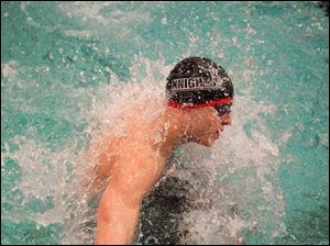 Jack Barone of St. Francis de Sales makes the turn during the 200-yard Medley Relay.