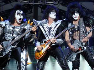 From left: bassist Gene Simmins , guitarist Tommy Thayer and singer Paul Stanley of Kiss.