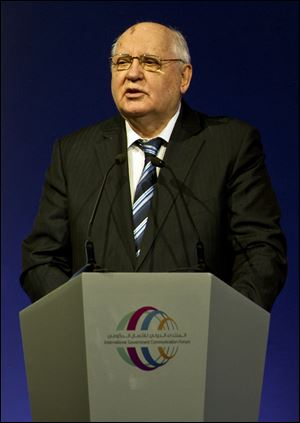 Former Soviet leader Mikhail Gorbachev, makes a speech to a forum on government communications in Sharjah, United Arab Emirates, today.