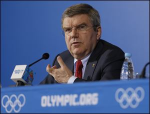 International Olympic Committee President Thomas Bach answers a question during a news conference at the 2014 Winter Olympics today in Sochi.