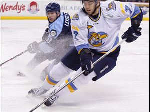 Max Nicastro was a 2008 third-round draft pick of the Detroit Red Wings. The defenseman has 15 assists in 41 games this season for the Walleye.