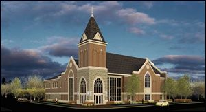 An architect's rendering of what the new Ada First United Methodist Church will look like. Construction on the project is expected to begin on March 17 and continue until February, 2015.