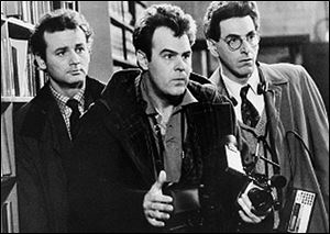 Bill Murray, left, Dan Aykroyd, center, and Harold Ramis, appear in a scene from the 1984 movie 'Ghostbusters.' Ramis died early Monday in Chicago from complications of autoimmune inflammatory disease, according to his attorney. He was 69.