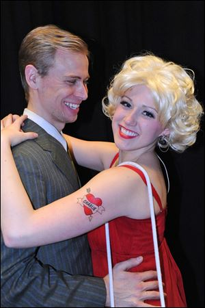 Nathan McVicker as Oscar and Jessica Evans as Charity in 'Sweet Charity.'