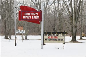 Griffin Hines Farm is on the west side of State Rt. 295 south of U.S. 20A near Swanton. There are several variations of the farm name.