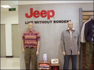 There are 250 stand-alone stores in China that sell Jeep gear and hundreds more within larger retailers. One is in Beijing's Shuang'An department store, above.