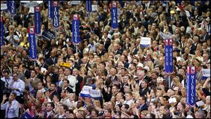Delegates cheer at the Republican National Convention in Tampa, Fla. in August, 2012.
