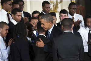 Joined at the White House by young men of color, President Obama called on America's businesses, philanthropists and government leaders to join forces to put more boys on a path toward successful lives.