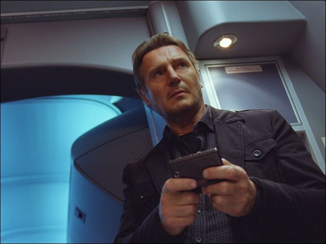 Film Review Non-Stop Liam Neeson in a scene from