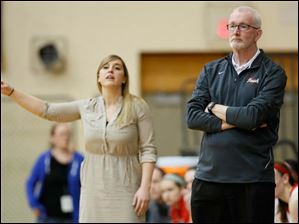 Central Catholic head coach Marty McGurk watches the action against Clyde.