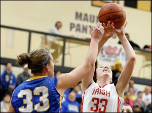 Central Catholic's Michelle Murnen (33) shoots  against Clyde's Amanda Cahill (33).