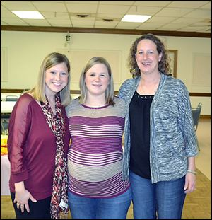 From left, sisters Andrea Gebhart, Courtney Steiner, and Megan Brown are now all mothers of twins. The women, who grew up in Weston, each gave birth to fraternal, boy-girl twins.