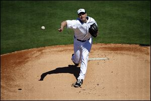 Detroit Tigers starting pitcher Max Scherzer throws during the first inning today in Lakeland, Fla.