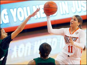 Bowling Green's Jillian Halfhill takes the ball to the basket.
