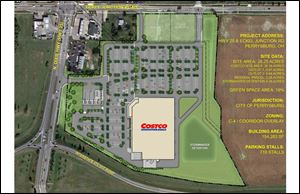 Costco's final site plan submitted to Perrysburg shows few changes on its project from previous plans except the underground pipeline is marked as rerouted around the north and east side of the parking lot and building.