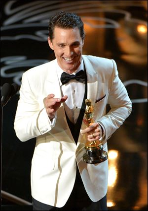 Matthew McConaughey accepts the award for best actor in a leading role for 'Dallas Buyers Club' during the Oscars.